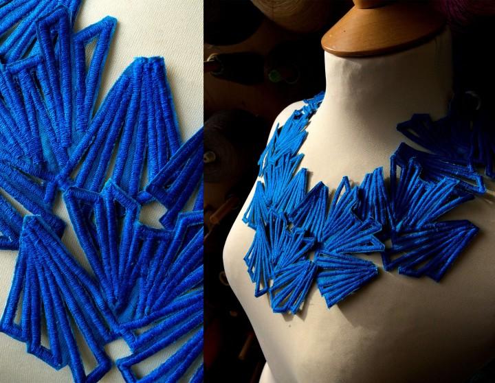 Blue butterfly neckline